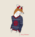 hand drawn of fox boy dressed up in jacquard vector image vector image