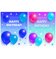 happy birthday background glossy balloons and star vector image vector image