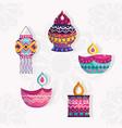 happy diwali festival set icons lanterns vector image vector image
