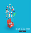 healthcare integrated 3d web icons growth vector image vector image