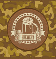 leather label for brewery on camouflage background vector image vector image