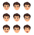 male emotions set facial expression cartoon vector image