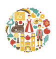 montenegro cultural symbols set in round shape on vector image
