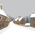 Mountain village winter houses vector image