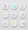 nfc payment app icons set vector image vector image