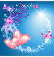 Pink hearts with flowers vector image vector image