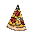 pizza slice in colored crayon silhouette on white vector image