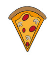 pizza slice with toppings fast food icon image vector image vector image