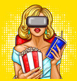 pop art woman watching movie with virtual vector image