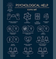 psychological help set of white linear icons vector image