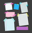 realistic blank note color paper with color sticky vector image