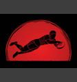 rugplayer action cartoon sport graphic vector image vector image