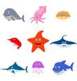 sea animal cartoon set vector image vector image