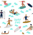 seamless pattern with characters people surfing vector image
