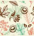 seamless pattern with chestnut and falling leaves vector image vector image
