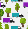 Seamless Pattern with Truck and Tree Background in vector image vector image