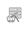 server and pickaxe hand drawn outline doodle icon vector image vector image