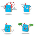 set of blue book character with listening music vector image vector image