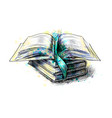 stack multi colored books and open book from a vector image vector image