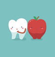 tooth healthy and fresh apple teeth and tooth con vector image vector image