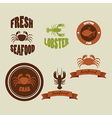 vintage labels seafood isolated on beige vector image vector image