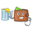 with juice wallet mascot cartoon style vector image