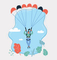 woman with parachute in sky vector image