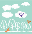 trees and birds hand drawn vector image