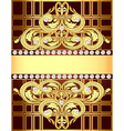 background with a strip of gold ornaments and pear vector image vector image