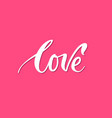 banner lettering love pink background vector image