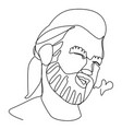 bearded man portrait one line facial expression vector image vector image