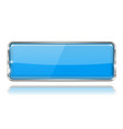 blue rectangle glass button 3d icon with chrome vector image vector image