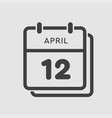 calendar day 12 april days year vector image vector image