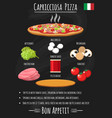 capriciosa pizza vintage poster on chalkboard vector image vector image
