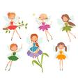 cartoon character set cute little fairies vector image