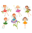Cartoon character set of cute little fairies vector image