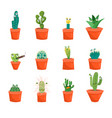cartoon funny cactus characters icons set vector image vector image