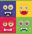 cartoon monster set in flat style happy halloween vector image
