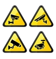 CCTV triangular labels set symbol video vector image vector image