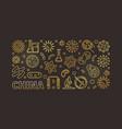 china coronavirus linear golden horizontal vector image vector image