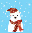 christmas a polar bear in a hat vector image