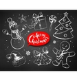 Christmas chalked line art set vector image vector image
