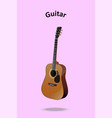 classic guitar on pastel pink background vector image vector image