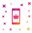 color mobile phone and shopping basket icon vector image vector image