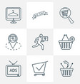 commerce icons line style set with location pin vector image
