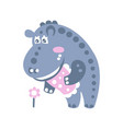 cute cartoon hippo character standing and looking vector image vector image