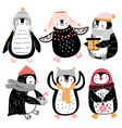 cute penguins celebrating christmas eve having vector image vector image