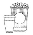 delicious pop corn with soda vector image vector image