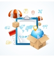 Delivery Concept With Icons Around vector image