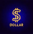 dollar neon label vector image vector image